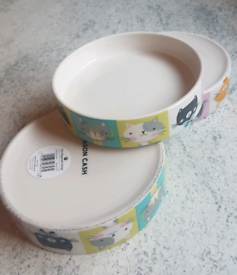 3 Brand New Mason Cash Ceramic Cat Food Dishes