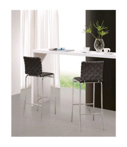 Pair of stainless steel chrome black accent counter barstool