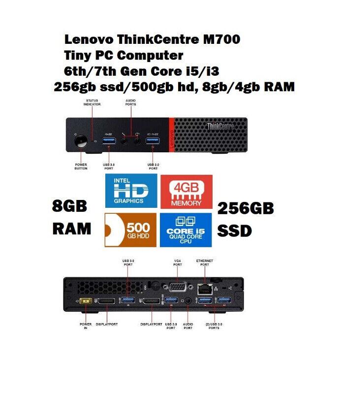 Lenovo ThinkCentre M700 Tiny PC - 6th Gen i5, 4GB RAM, 500GB HDD