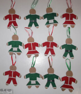 12 Handmade Christmas Ornaments - Gingerbread-style