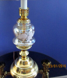 Brass Plated Crystal Glass Lamp Cambridge Kitchener Area image 4