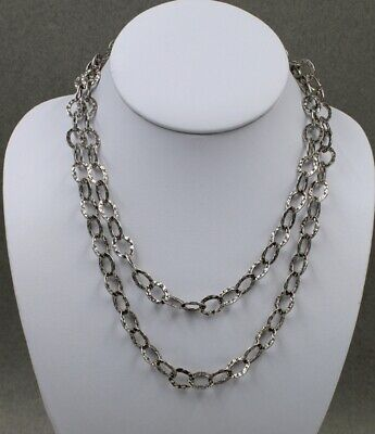 Relios Sterling Silver Hammered Oval Link Necklace Hammered Oval Necklace