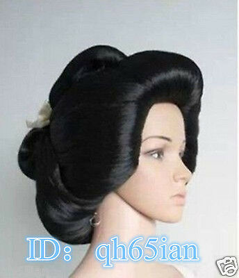 Hot!!! Black Geisha Wig Full Wigs Plate Hair Anime Wigs Cosplay - Geisha Wigs