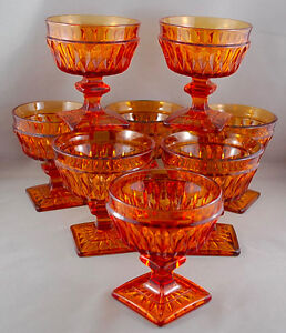 SET OF 8 INDIANA GLASS MOUNT VERNON AMBER SQUARE FOOTED GOBLETS