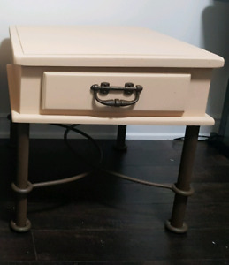 Rustic metal / solid wood nightstand BEST OFFER