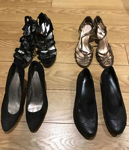 Four sets of shoes for sale, lightly worn, different brand names