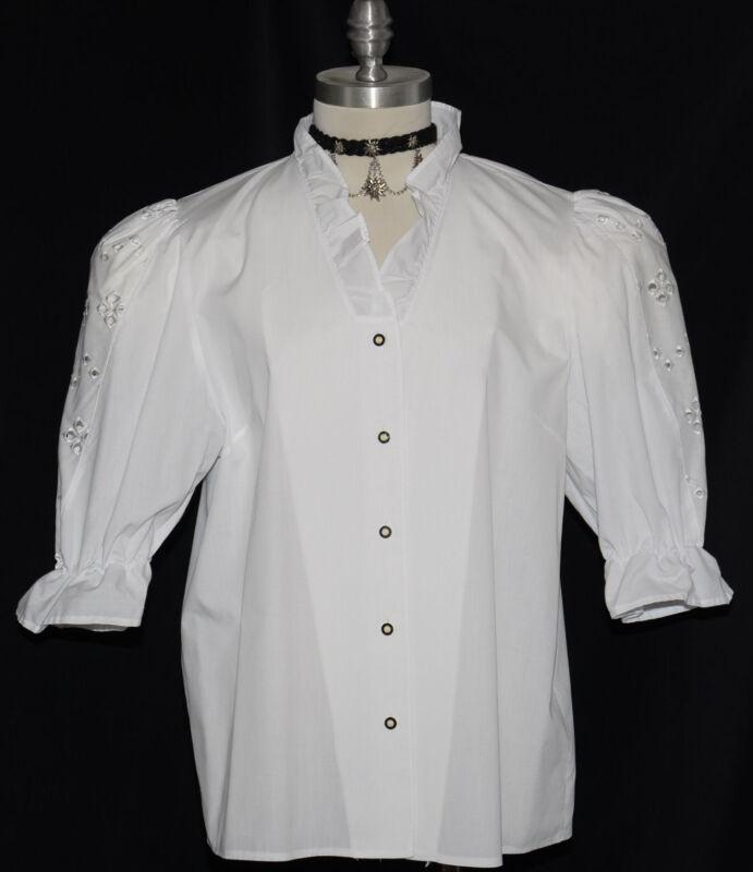 """VICTORIAN WHITE LACE Button Up SHIRT German Dirndl Dress Suit Western B44"""" 16 L"""