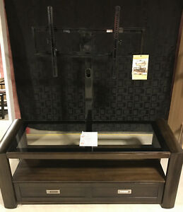 Gray Entertainment Unit with TV Bracket and Bottom Drawer
