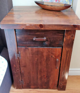 PAIR: Rustic Solid Pine End Tables or Bed Tables