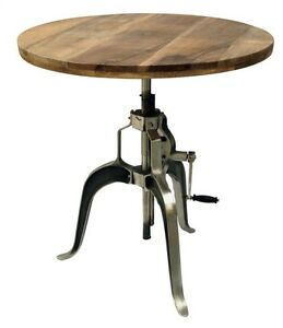 Industrial Adjustable Crank Dining Table with Mango Wood Top