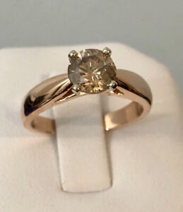 14K Rose Gold 1ct. Fancy Brown Coloured Diamond Engagement Ring