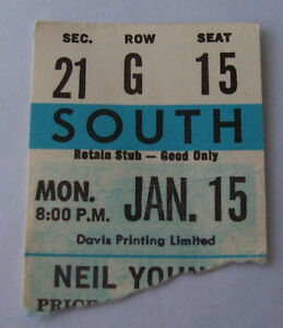 Maple Leaf Gardens Neil Young 1973 Ticket Stub