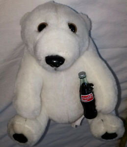 Vintage Plush Polar Bear Toy with Coke Bottle by Coca-Cola