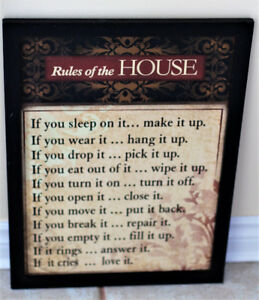 FRAMED RULES OF THE HOUSE