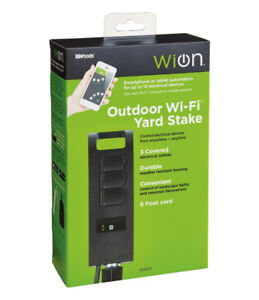 Woods WiOn 50053 Outdoor WiFi Yard Stake with 3-Outlets, Wireles
