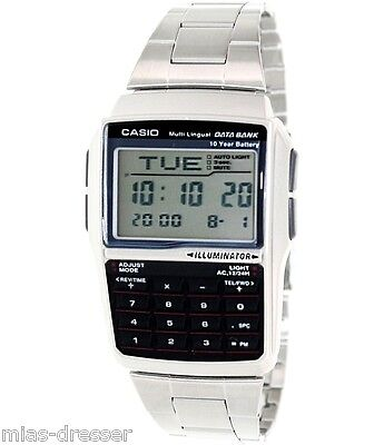 Casio DBC32D-1A Mens Stainless Steel Data Bank Calculator Watch Telememo 25 NEW Casio Mens Steel Watch