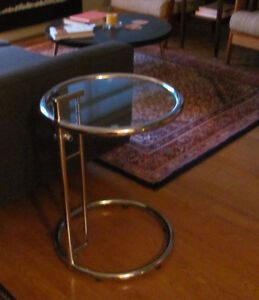Modern GLASS CHROME ROUND END SIDE TABLE COCKTAIL Trappe Varick