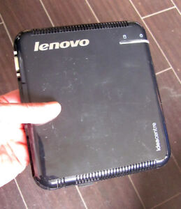 Small Lenovo computer running Linux.