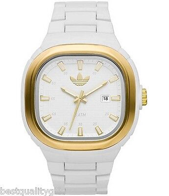 ADIDAS WHITE ACRyLIC BAND,DIAL WITH GOLD ACCENT WATCH+DATE ADH2579-NEW