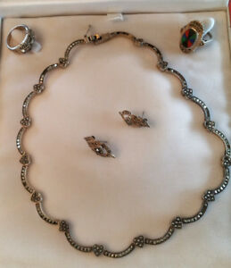 Marcasite and Sterling Jewellery - Necklace, Earrings, Rings (2)