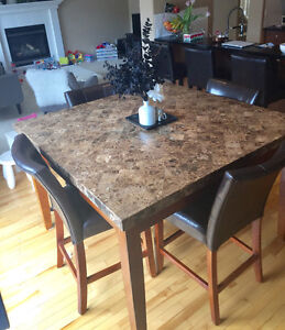 Marble Table and 4 Leather Chairs! $400