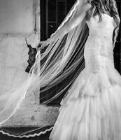 Mermaid silk tulle and lace wedding dress by Italian Designer