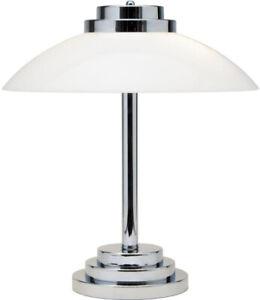 Art Deco Style Chrome And Opal Glass Table Lamp - Similar
