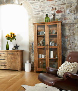 RECLAIMED Solid Pine Wood Glass Display Cabinet! NEW