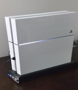 White PS4 upgraded 500 GB SSD c/w Charging Stand, + 2 games