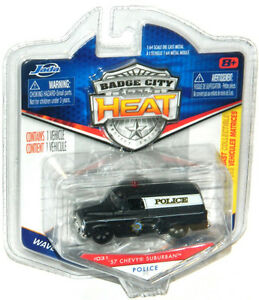 Jada Badge City Heat 1/64 '57 Chevy Suburban Police Diecast Car