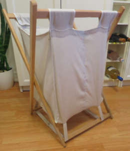 Small duel laundry hamper - wood and fabric
