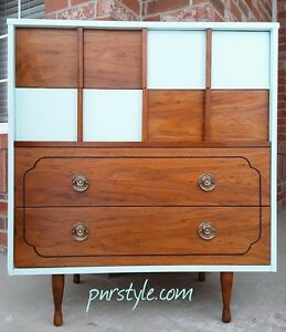 Restyled MID CENTURY MODERN DRESSER & NIGHTSTAND – Free Delivery
