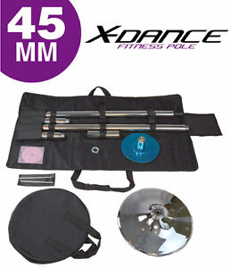 X-Dance 45mm Pole Dance Spinning Static Chrome with Carry Case