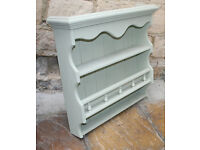 Cotswold Green Painted Pine Wall Rack, Display, Bathroom, Kitchen, Herbs and Spices