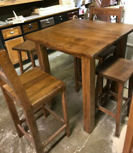 Canadian made 5-Piece Wormy Maple Pub-style Dining Table - SALE