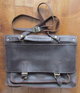 Cartable (sacoche - sac) en cuir brun