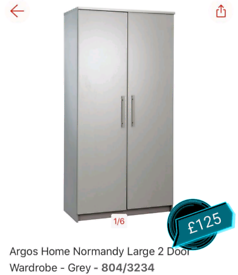 Grey Large 2 Door wardrobe only £125. Real Bargains Clearance