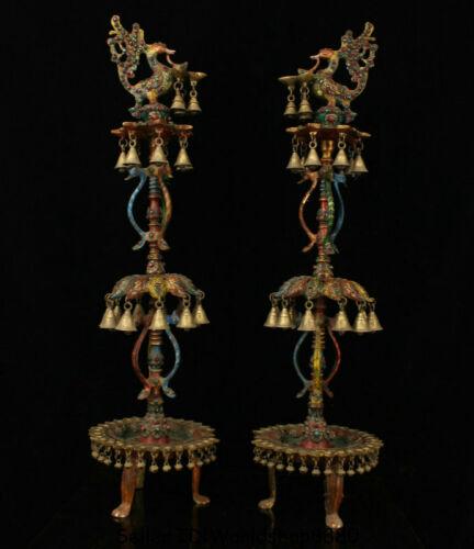 """35.2"""" Tibet Bronze Inlay Gem Phoenix Birds Bell Candle Holder Candlestick Pair"""