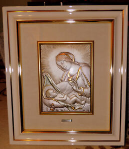 Madonna and chid  Framed child relief wall art.  20 1/2 X 18 inc