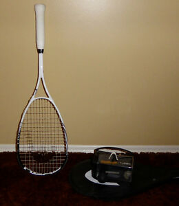 Squash Racket and Goggles
