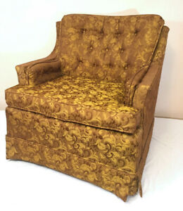 Designer Gold Brocade Occasional Chair SEE VIDEO