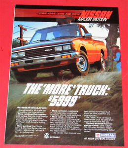 BEAUTIFUL 1985 NISSAN KING CAB PICKUP TRUCK AD - ANNONCE RETRO