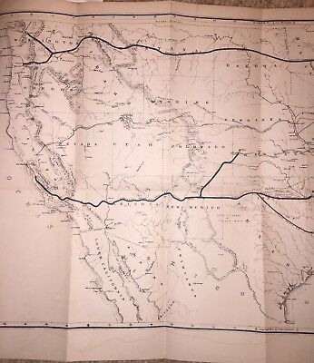 1869 Great Railroad Routes of the Pacific, Large Original Map