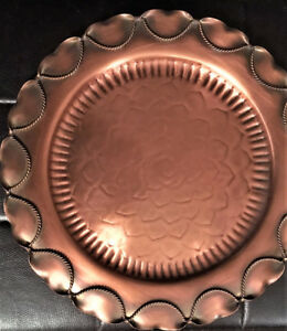 Vintage Gregorian Solid Copper Round Wall Hanging Plate