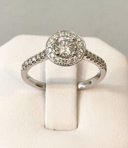 18k white gold halo diamond engagement ring*Appraised @ $3,800