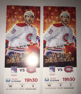 2 tickets for Canadians VS Rangers 22 feb