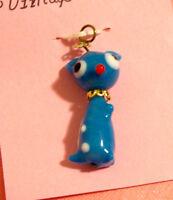 Pendentif vintage animal bleu en verre soufflé #044