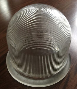 "VINTAGE 7""X6"" THREADED HOLOPHANE INDUSTRIAL GLASS LENS LIGHT"