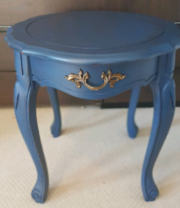 Navy Antiqued Solid Wood End Table