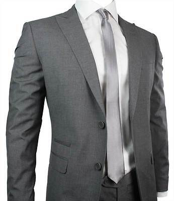Mens Slim Fit Suit Grey Self Stripe 2 Button Office Party or Wedding Suit UK Sto